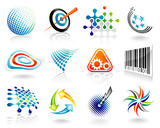 Set of abstract vector graphic symbol design.