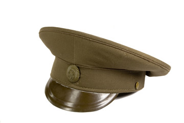 Green military cap on white ground