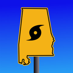 Alabama warning sign with hurricane symbol on blue