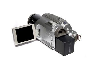 A silver digital video camera - close up