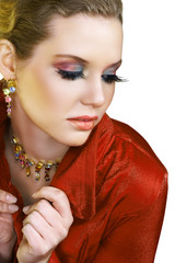 Blond beautiful woman with long fashion lashes and pink lips