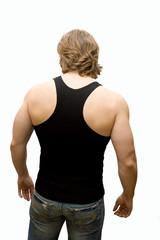 sportman's back isolated on white