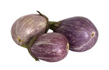 Three striped eggplants on a white background separately poster