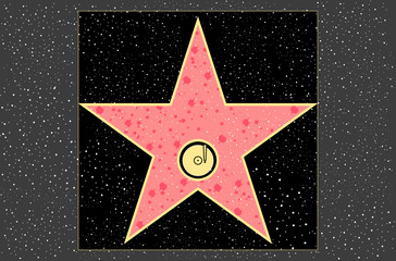 hollywood walk of fame: recording star in vector