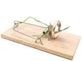 Single mousetrap with golden ring against the white background poster
