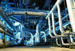 Pipes, tubes, machinery and steam turbine at a power plant - 9542295