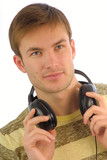 young man with headphones for listening music