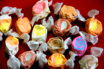 Colorful wrapped taffy candy