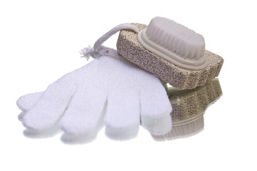 Massage and scrub glove with pumice