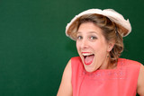 excited girl in retro style at Goodwood Revival event, UK poster