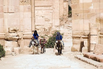 Tourist vacation in nabatean town Petra