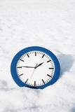 beautiful winter mood.winter time .clock in snow. poster