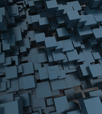 Fototapety Digitally generated abstract cubic background in bluish shades