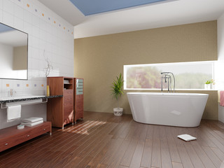 modern bathroom with a  tub (3D rendering)..