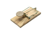 Coin like a bait lying in mousetrap on white background poster