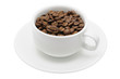 Cup of coffee beans in isolated white background