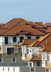 Typical roof pattern of residential area in an Asian country.