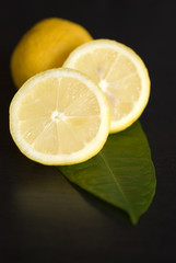 Lemon Fresh fruit, a tropical lemon on black backgroud