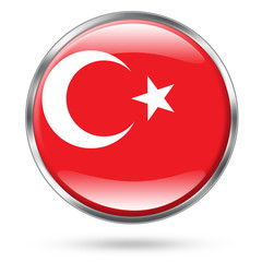 Turkey Flag Icon Button series easy to extract
