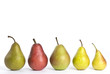A Row of Assorted Pears