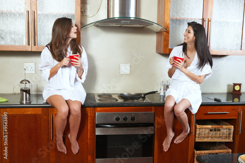 Sexy young adult brunette roommates in lingerie drinking