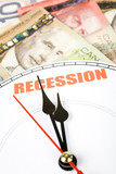 canadian dollar and clock face, concept of Economic Recession poster