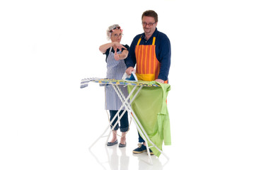 Houseman with ironing-board, housewife thumbs up