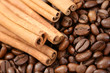 aromatic coffee - coffee beans and cinnamon sticks