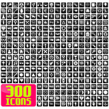 Fototapety 300 icons in white&black