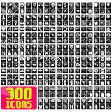 Fototapety 300 icons in white&black