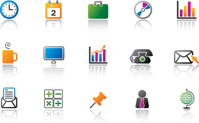 Business Office Icon Set - Full Color version