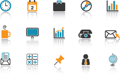 Business Office Icon Set - Blue version