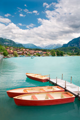 Rowboats on Lake Brienz, Berne Canton, Switzerland