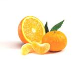 Half orange with mandarin and slices