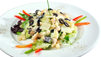 appetizer with pepper salad and olives  isolated on white