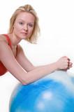 blond woman wearing workout attire doing push ups poster