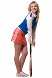 Attractive blond woman wearing sporty outfit poster