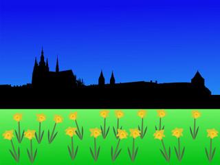 St Vitus cathedral and Prague castle in spring illustration
