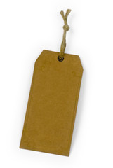 empty paper tag tied with brown string