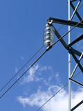 Detail of a transformer of a power pylon poster
