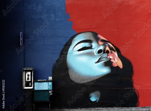canvas print picture woman's face painted on wall with vibrant colors