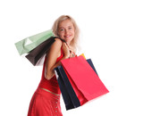 Girl with set of purchases 4 poster