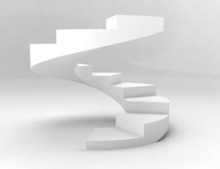 white spiral stairs