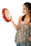 Young pregnant woman anxiously awaiting the birth of her baby. poster
