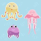 Cartoon sea creatures - octopus, jellyfish and millipede poster