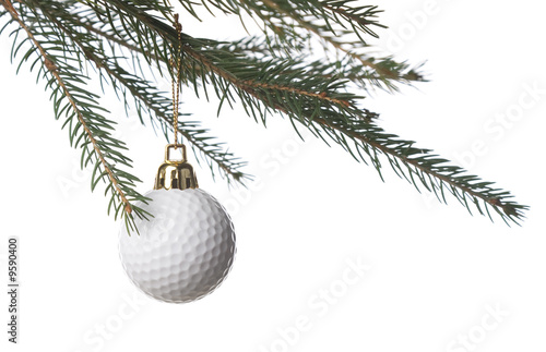 golf-ball as a xmas ornament isolated on white background - 9590400