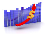 Image of dollar on the increase against financial graphs poster