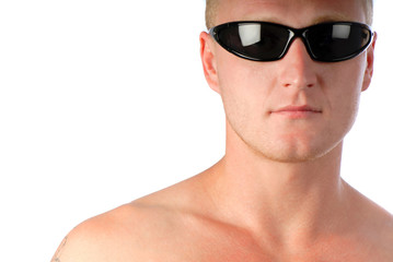portrait of  young businessman in dark sunglasses