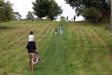 families walking up a grassed slope/ chilling out on Sunday poster