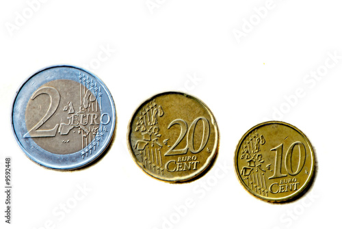 three coins of euro on  white background
